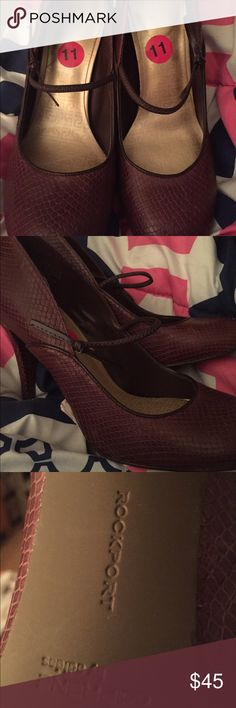 Purple snake skin heels w/ elastic bow. BRAND NEW! BRAND NEW, never worn, with size sticker! Rockport Shoes Heels