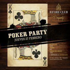 Poker Party en Bfore Club Valencia. Jueves 27 de febrero, fiesta universitaria con regalos para los más afortunados en las cartas