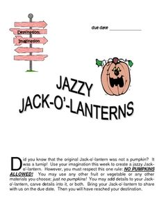 Jazzy Jack-o'-lanterns is a creative, fun, fall activity intended to promote originality as one of the 4 traits of gifted children (fluency, flexibility, elaboration & originality).  Included in this set are general directions, an assignment sheet, notes to the teacher, and a participation certificate.  FREE