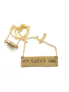 "Stamped Metal Gold Bar Necklace: Phish Song - ""My Sweet One""  GypsiesEnRegalia Etsy!"