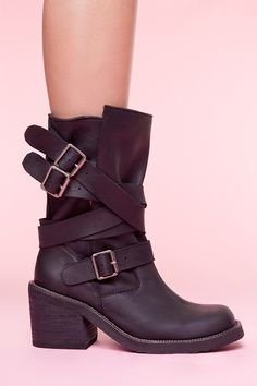 Jeffrey Campbell Deanne Strapped Boot - Black 225.00. I love this take on combat/moto boots with long straps & buckles instead of laces