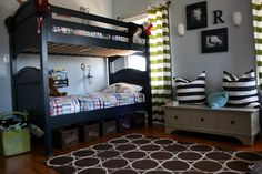 My boys have these beds and similar quilts....The curtains are a great idea.