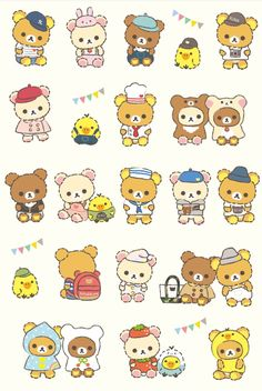 Rilakkuma Rilakkuma Wallpaper, Sanrio Wallpaper, Kawaii Wallpaper, Printable Stickers, Cute Stickers, Bullet Journal Decoration, Cute Emoji, Kawaii Art, Kawaii Drawings