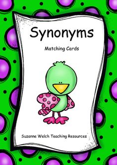 A large set of synonym matching cards. Word Study, Word Work, Matching Cards, Teaching Resources, Literacy, Size Chart, Pairs, Templates, Black And White