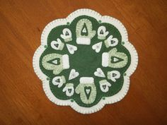 Primitive Wool Mittens and Snowflakes Penny Rug Candle Mat w/fs