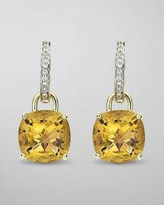 Eternal 18k Gold Citrine Diamond Earrings by Kiki McDonough at Neiman Marcus.