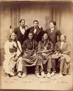 Standing L-R: Louis Bordeaux (Interpreter at Spotted Tail agency), William Garnett (Interpreter at Red Cloud agency), Julius Meyer (Interpreter and local host in Omaha) Sitting L-R: Sitting Bull (Oglala), Swift Bear (Sicangu), Spotted Tail (Sicangu), Red Cloud (Oglala) - 1875   Old Photos - Oglala | Sioux Research-Dakota, Lakota, Nakota