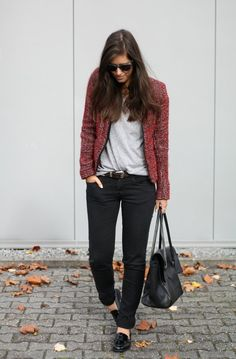 Update a casual look with Fall-perfect layers — this tweedy, red jacket has just the right downtown-cool vi...