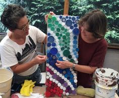 BottleBrickPhilly: Plastic Bottle Cap Mosaic Grouting Experiments - Euhri Jones and Betsy Teutsch. We are working on a mosaic of bottle caps for the exterior wall of the keyhole garden being constructed of #ecoladrillos here in Philly. We love the way the bottle caps become round tiles once the grout is applied. But we have some challenges to work out!