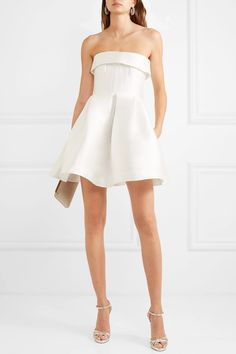 White silk-faille Button and concealed zip fastenings at back silk Dry clean Alex Perry, Satin Dresses, Bridal Dresses, Strapless Dress, Short Frocks, Bridal Musings, White Mini Dress, White Silk, Tulum
