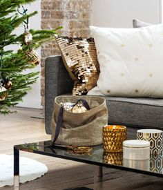 Metallic fabric storage basket | H&M HOME