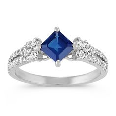 Square Cut Traditional Sapphire and Round Diamond Fashion Ring