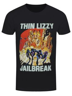 The Boys Are Back In Town! Join Phil Lynott and co. for a night of trouble with this epic Thin Lizzy t-shirt, commemorating the release of their legendary sixth studio album, Jailbreak. Rock on! Official merch.