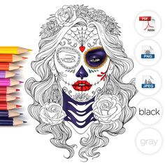 Day of the Dead Adult Coloring Page by LineArtsy