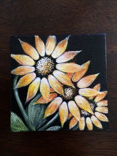 Three Golden Sunflowers on Mini Canvas Hand Painted with Magnet. Size 3x3 on Etsy, $14.99