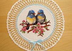 Serwetki, haft krzyżykowy, ptaki, piękne!