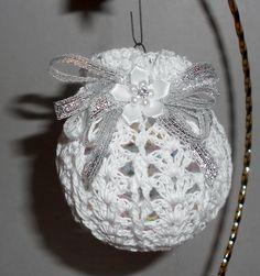Victorian Crochet Christmas Ornament, White and Silver. $6.00, via Etsy.