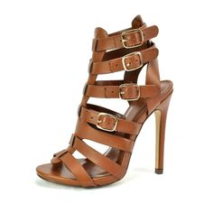 Amazon.com: Paprica Masi Tan Open Toe Caged Strappy Buckle High Heel: Shoes