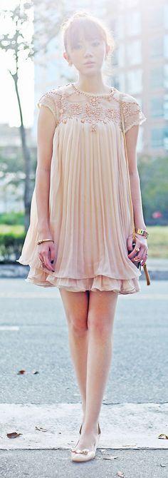 bead pleated dress
