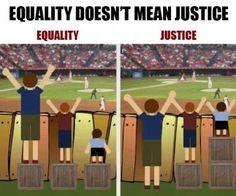 A great way to explain special needs to kids...fair doesn't always mean equal.