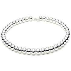 """Beaded Necklace 5mm-10mm Shiny High Polished Ball Bead 925 Sterling Silver 16""""-18"""" Choose Your Width & Length"""
