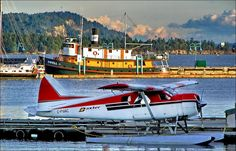 Baxter Aviation in Nanaimo Harbour as the sun recedes in the evening. Air Company, Amphibious Aircraft, Float Plane, Photo Boards, Sunshine Coast, Vancouver Island, British Columbia, Aviation, Coastal