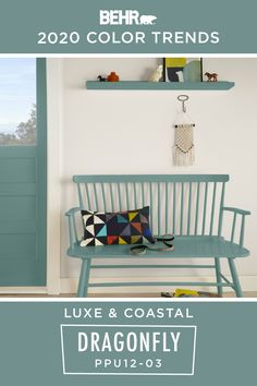 Channel your inner beach lover with BEHR® Paint in Dragonfly. This blue hue makes a great accent color on painted furniture pieces like this bench, shelf, and front door. It's also part of the BEHR 2020 Color Trends Palette, making it a modern addition to your home. Click below for full color details.