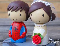 Cute SPIDERMAN superhero wedding cake topper by GenefyPlayground, £88.00
