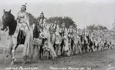 This photograph of Indian Princesses is from 1948 and the tradition continues with plenty of princesses at Round-Up today. Klamath.