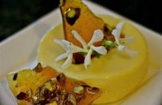 Honey saffron white chocolate panna cotta and pistachio toffee