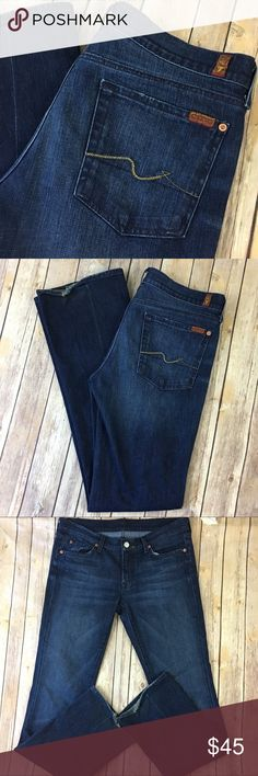 "7 For All Mankind Jeans Boot Cut 31 x 34 Long Dark Tag size - 31 Waist Measured Across - 17.5"" Inseam - 34"" Rise - 8.5"" Fabric Content - 98% cotton 2% elastane Great Used Condition! Always open to reasonable offers! 7 For All Mankind Jeans Boot Cut"