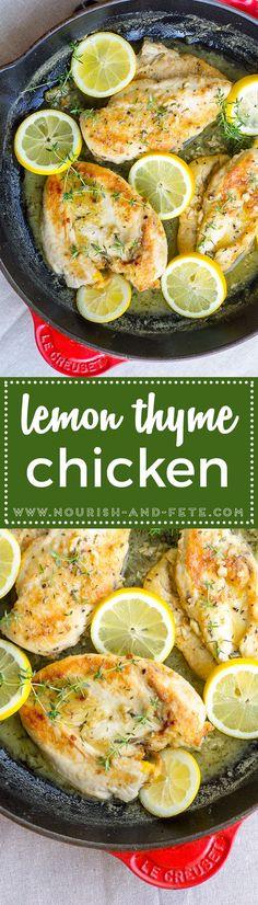 Quick lemon thyme chicken will be your new favorite weeknight dinner!  via @nourishandfete