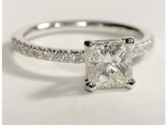 Blue Nile: Princess Cut, Petite Pave Diamond Engagement Ring. Love this style.