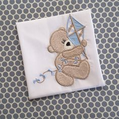 Baby Applique Machine Embroidery Design Kite Bear by BabyEmbroideryShop on Etsy