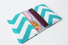 Paspoort hoes Paspoort portemonnee Zig zag door Anelisahandmade