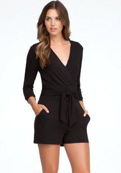 Amazon.com: bebe Slit Sleeve Knit Romper: Clothing