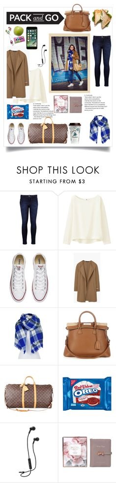"""""""pack and go"""" by krisince ❤ liked on Polyvore featuring Levi's, Uniqlo, Converse, MANGO, ZooZatZ, Maison Margiela, Louis Vuitton and Ted Baker"""