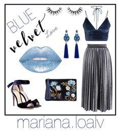"""💙 Love blue velvet 💙"" by marianaloalv on Polyvore featuring moda, Alexandre Birman, Chicwish, Sam Edelman y Velour Lashes"