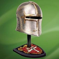 A helmet to protect Macbeths head whilst still allowing him to see his foes.