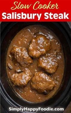 Crock Pot Recipes, Crockpot Dishes, Crock Pot Slow Cooker, Beef Dishes, Meat Recipes, Slow Cooker Recipes, Cooking Recipes, Easy Steak Recipes, Ground Beef Slow Cooker