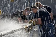 PEARL HARBOR (Feb. 20, 2014) Sailors from the Los Angeles-class fast attack submarine USS La Jolla (SSN 701) apply a patch to a simulated ruptured pipe during a damage control challenge hosted by Naval Submarine Support Command on Joint Base Pearl Harbor-Hickam. (U.S. Navy photo by Mass Communication Specialist 1st Class Jason Swink/Released)