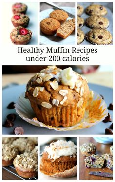 7 Healthy Muffin Recipes Under 200 Calories. Freezer-friendly & great for when y… 7 Healthy Muffin Recipes Under 200 Calories. Freezer-friendly & great for when you need a grab 'n go breakfast or snack! Healthy Muffin Recipes, Healthy Muffins, Healthy Sweets, Healthy Baking, Healthy Snacks, Healthy Man, Protein Muffins, Eat Healthy, Pumpkin Oatmeal Muffins