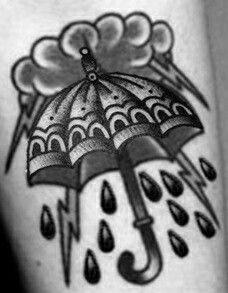 Traditional Umbrella Black Work Tattoo