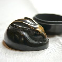 #Japanese black, 香合 兎 炭谷三郎商店(富山) -こうごう / Kogo / incense container) for Tea Ceremony.