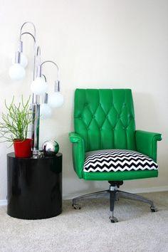 60s chair, green + chevron