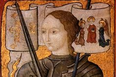 Photo: Centre Historique des Archives Nationales, Paris Joan of Arc in a painting by an unknown artist, ca. 1485.