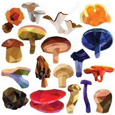 Mushroom set colorful low poly designs isolated on white background...