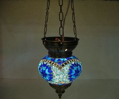 Blue hanging lamp lampe mosaique Night Shade moroccan by meryemart