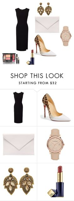 """#54"" by eliza147 ❤ liked on Polyvore featuring Roland Mouret, Christian Louboutin, Verali, Burberry and Estée Lauder"