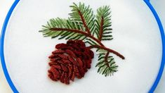 Аmazing embroidery * Christmas embroidery embroidery How to embroider a Christmas cone easy stitches : Stem stitch Slip stitch Cast-on stitch pattern - ht. Embroidery 3d, Christmas Embroidery Patterns, Bead Embroidery Patterns, Hand Embroidery Tutorial, Hand Embroidery Flowers, Cross Stitch Embroidery, Christmas Aprons, Holly Leaf, Free Motion Quilting